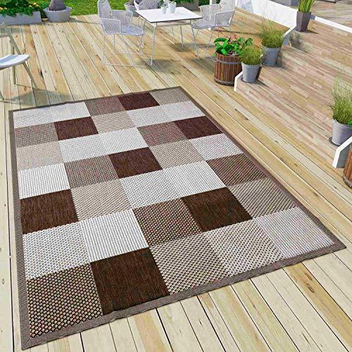 VIMODA Robuster Flachgewebe Teppich In- und Outdoor Tauglich 100% Polypropylen, Farbe:Braun, Maße:140 x 200 cm