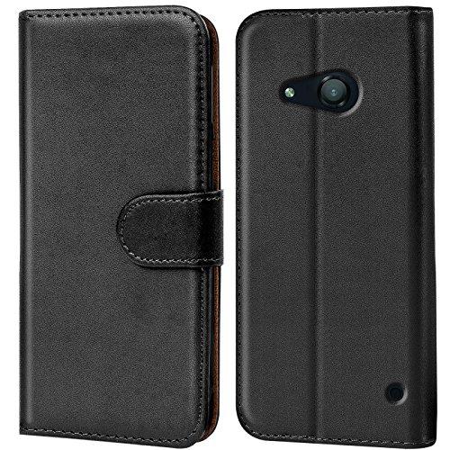 Verco Lumia 550 Hülle, Handyhülle für Microsoft Lumia 550 Tasche PU Leder Flip Hülle Brieftasche - Schwarz