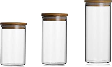 مجموعة من 3 عبوات زجاجية ذات أغطية خشبية