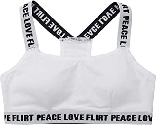 FEESHOW Puberty Growing Young Girls Soft Padded Cotton Sports Training Bra Wireless Sports Bra Underwear