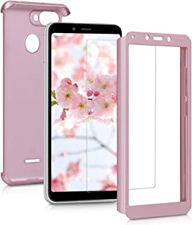kwmobile Cover for Xiaomi Redmi 6 - Shockproof Protective Full Body Case with Screen Protector - Metallic Rose Gold