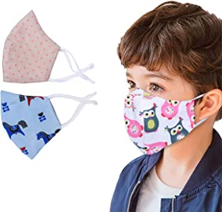 Milano Home 3-Pack Kids Face Mask, Reversible, Reusable, Washable, 7 Layer Protection with Adjustable Ear Straps, 3 Layere...