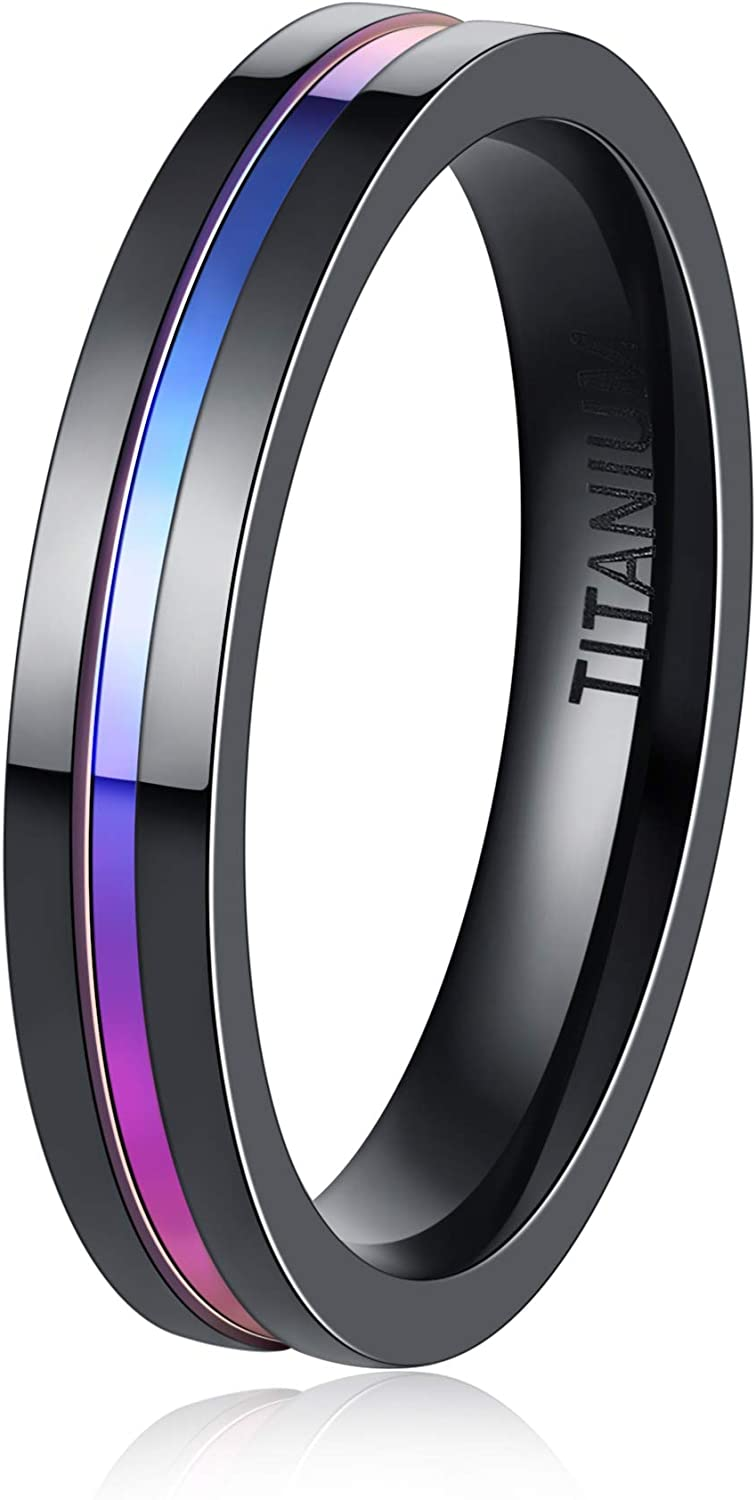 4mm Band Ring for Women Black and Gold/Rainbow Color Titanium Stainless Steel Ring