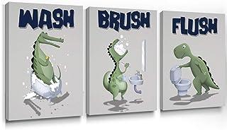 Geeignet Bathroom Wall Art Kids Dinosaur Decor Funny Quotes Canvas Paintings Animal Prints Gifts for Kids, Wash Brush Flush Bathroom Art 12x16 Inch, 3 Panels