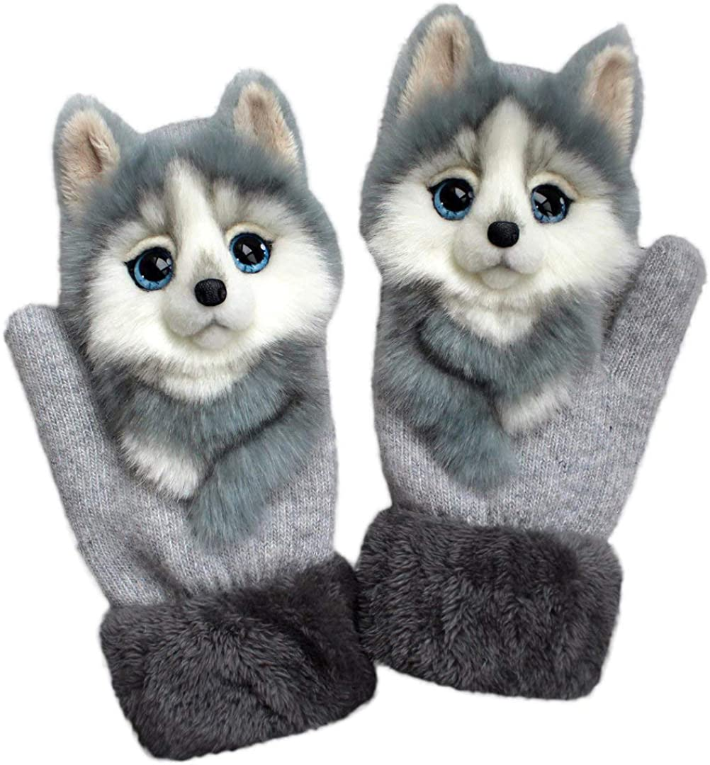Unisex Winter Knitted Gloves Cute 3D Fluffy Cartoon Animal Thermal Mittens