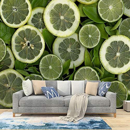 MILUSEN Moderne minimalistische citroen fruit koude drank winkel woonkamer TV achtergrond beeld naadloze bank wallpaper muurschildering stof