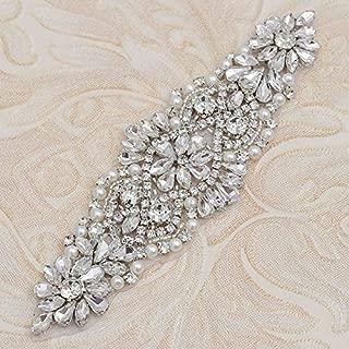 Fabrichouse Wedding Dress Rhinestone Applique Crystal Piece Decoration for DIY Bridal Belt and Sash Handmade Sewing Clothing Accessories (Silver)