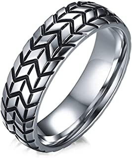 Godyce Stainless Steel Tire Rings Motorcycle Style for Mens Boys Size 7-12