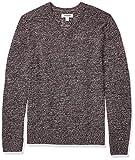 Amazon Brand - Goodthreads Men's Supersoft Marled V-Neck Sweater, Burgundy Large