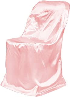 LinenTablecloth Satin Folding Chair Cover Pink