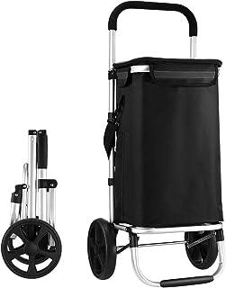 Waterproof Shopping cart Trolley Foldable Aluminium Grocery Bag Black