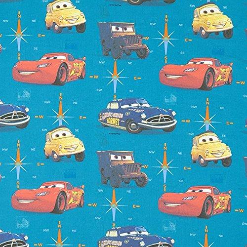 Baumwollstoff Disney Cars 2 – türkis — Meterware ab 0,5m — STANDARD 100 by OEKO-TEX® Produktklasse III — zum Nähen von Kinder Deko, Outdoor Deko & Kissen/Tagesdecken
