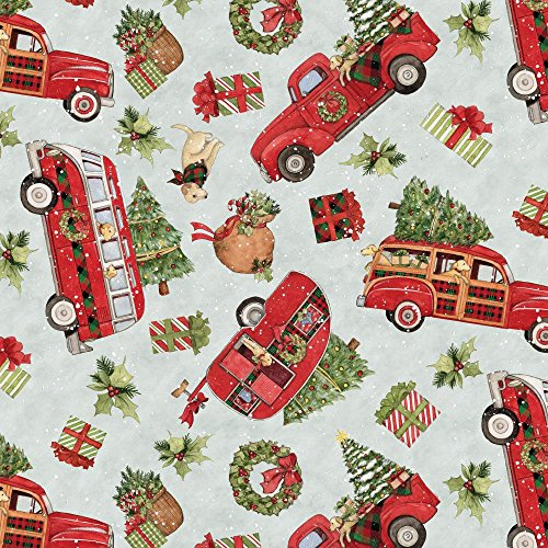 Christmas Red Truck Toss Cotton Fabric by The Yard