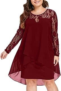 Women Skirt Fashion Casual Plus Size Sheer Lace Sleeve High Low Hem O-Neck Swing Dress Slim Fit Comfy Dress
