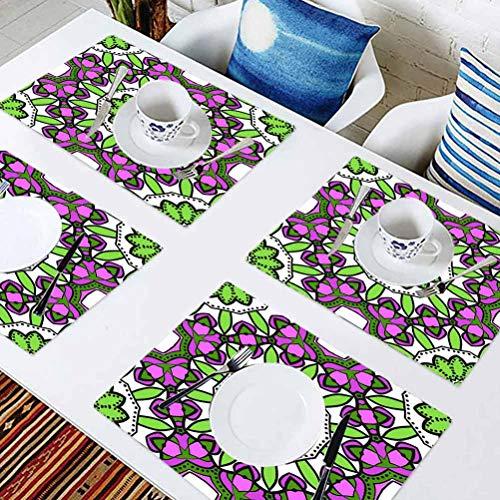 L'sWOW Lot de 8 sets de table rectangulaires lavables avec motifs floraux Art déco moderne pour table de conférence, salle à manger décoration de bureau