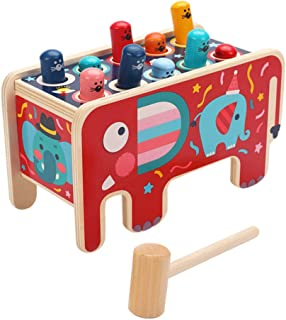 TOYANDONA 1 Set Hammering Pounding Toys Wooden Pounding Bench Elephant Shape Whack- a- mole Toy Educational Toy Montessori...