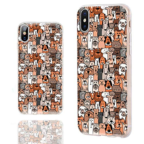 iPhone Xs Case Cute,iPhone X Case Cool,iPhone 10 Case,ChiChiC Ultra Slim Flexible Soft Rubber TPU Clear Case Cover with Design for iPhone Xs X 10,Cartoon Animal Pet Cute Brown Dog Puppy and Cat Smile