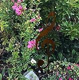 RDI Notenschlüssel Edelrost auf Stab, Rostiges Metall, Gartenfigur, Metall Figur, Gartendeko