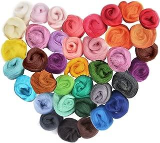 LoveInUSA Needle Felting Kit, 36 Colors Wool Roving Felting Wool DIY Felting Needles