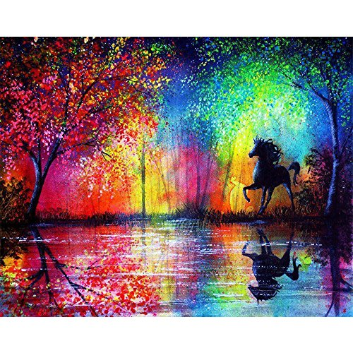 Blxecky DIY 5D Diamant Peinture Point De Croix Broderie Diamond Painting Kits Salon Chambre Décoration Autocollant mural,cheval(16X12inch/40X30CM)