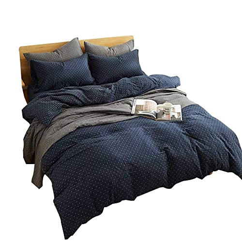 ALL SIZES Navy Blue and White Cotton Duvet Cover Bedding Set with Shams
