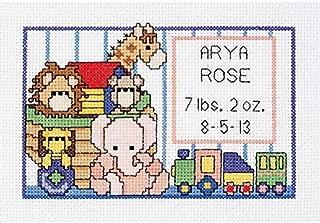 Janlynn SGP-0615 Noah's Ark Birth Sampler 6 by 4-Inch Counted Cross Stitch Kit, Mini