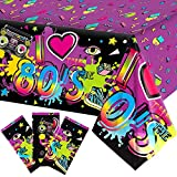 3 Pieces 80s Plastic Party Tablecloth 80's Party Table Cover 80s Birthday Party Supplies the 80s Hip Hop Party Decoration Throwback Birthday Party Decoration for Dining Room and Kitchen, 108 X 54 Inch