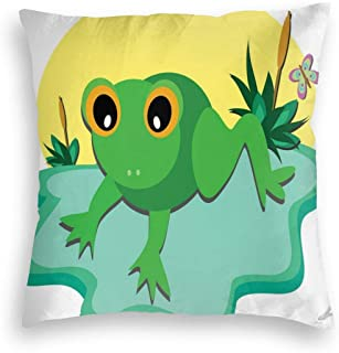 GULTMEE Velvet Soft Decorative Square Accent Throw Pillow Covers Cushion Case,Funny Eyes Tiny Amphibian Animal On Big Leaf and Pond Plants with Vivid Butterfly,for Sofa Bedroom Car 22IN