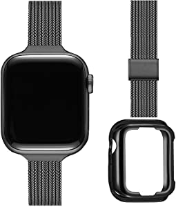 ZXCASD Slim Watch Band Compatible with Apple Watch Band 38mm 40mm 42mm 44mm for Women Girls, Stainless Steel Mesh Strap Replacement for iWatch SE iwatch Series 6/5/4/3/2/1 (Black, 38mm 40mm)