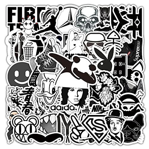 RWDMFC Pegatinas 110 Uds Serie de Dibujos Animados En Blanco Y Negro de Pegatinas de Graffiti Equipaje Coche Scooter Locomotora decoracióN Pegatinas-A