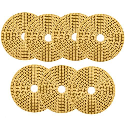 KingBra - Juego de 7 discos de lijado de diamante mojado, grano 50 – 3000 para lijadora de hormigón de cristal de cuarzo y mármol