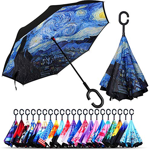Owen Kyne Windproof Double Layer Folding Inverted Umbrella, Self Stand Upside-down Rain Protection Car Reverse Umbrellas with C-shaped Handle (The Starry Night)