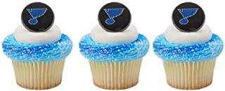 12 CUPCAKE topper RINGS new ST LOUIS BLUES hockey NHL party ANY occasion BIRTHDAY fan FAVORS cake DECORATIONS by MONKEYDOG PARTY