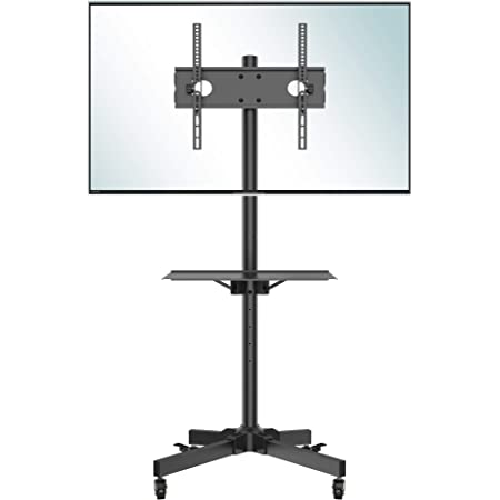 BONTEC Support TV roulettes Chariot Meuble TV pour Ecran de 23-60 Pouces Plasma/LCD/LED, Hauteur Réglable de 800-1500 mm avec Plateau Solide - VESA Max 400x400 mm