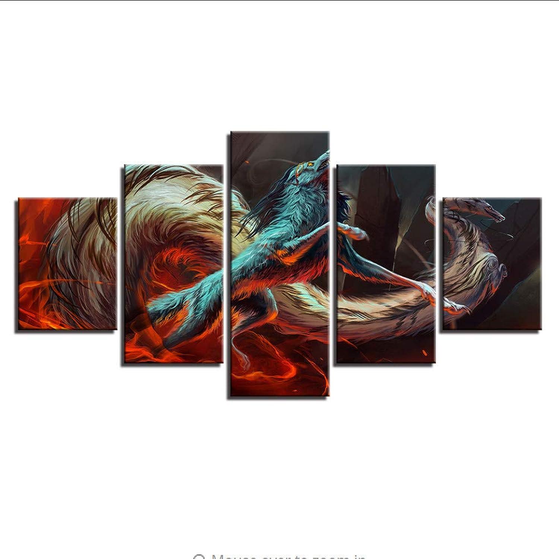 Felices compras Guyuell HD Prints Pictures Modular Home Wall Art Decor 5 5 5 Piezas Fire Dragon Lobo Pinturas Lienzo Juego De Fantasía Animales Carteles-20Cmx35 45 55Cm,with Frame  la red entera más baja