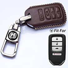 Romeo's Memory Car Key Cover 4 Buttons Smart Key Fob Remote Covers Case Holder Genuine Leather for 2018 Honda Fit EX Accord Ridgeline HRV Keyless Entry