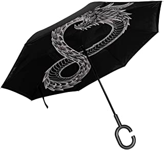 Ouroboros Takeshi Kovacs Tattoo Altered Carbon Double Layer Inverted Umbrella For Car Reverse Folding Upside Down C-Shaped Hands - Lightweight & Windproof – Ideal Gift