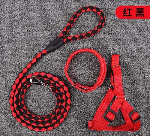 DLFALG accessoires voor huisdieren, nieuwe borstlijnen, hondenriem van nylon, handgeweven, Hiena, aan de buitenkant, sterk touw uit drie delen, rood en zwart, code M