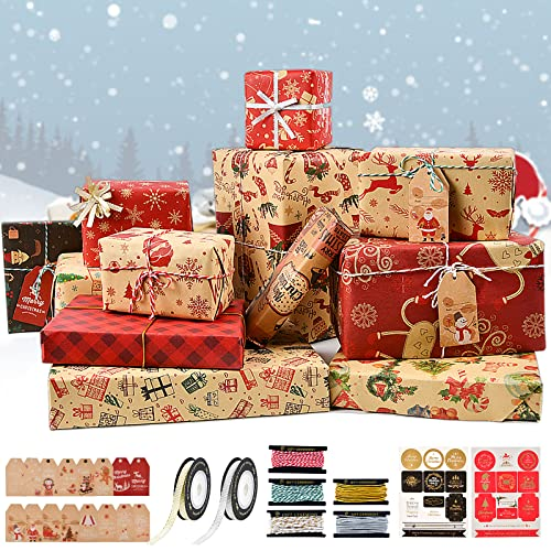 YILEEY Papel de Regalo Kraft Navidad 12 Hojas, Reciclable Papel de Regalo Rollo Grande 70 cm x 50 cm, Con Etiquetas Regalo, Cinta de Navidad, Etiquetas Adhesivas, Cuerda Algodon