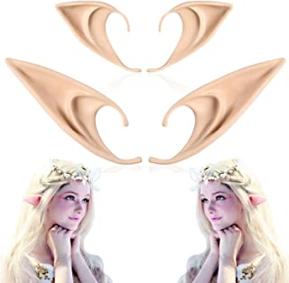 Tenmon 2 Pairs of Big and Small Role Playing Fairy Ears, Halloween Anime Party Dress Up Vampire Dress Up Latex Elf Ears Pa...