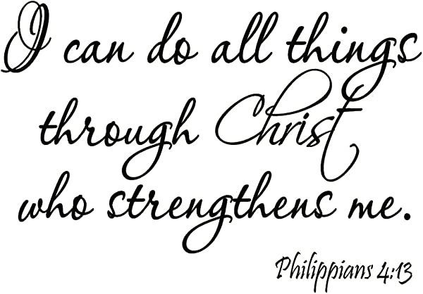 VWAQ I Can Do All Things Through Christ Who Strengthens Me Philippians 4 13 Wall Decal Bible Scripture Christian Wall Art Quote Lettering