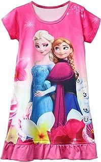 Moebao Girls Frozen Short Sleeve Dress Princess Skirt Children's Cartoon Pajamas Pajamas 3-10y