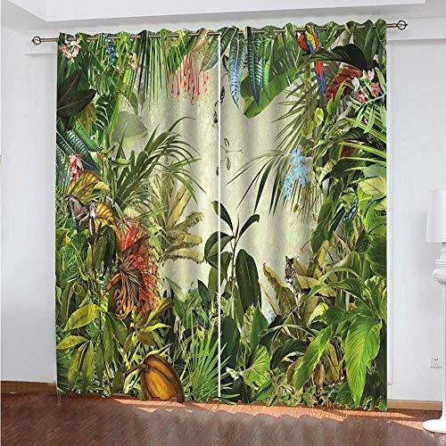 DRFQSK Cortinas Infantiles Impresión Digital Plantas del Bosque Tropical 3D Cortinas Opacas Termicas Aislantes Cortinas Dormitorio Moderno con Ollaos, 2 Paneles 300 X 270 Cm(An X Al)
