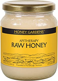 Honey Gardens Apitherapy Raw Honey   100% Pure   US Grade A, Unpasteurized & Unfiltered   21 Servings   1 Pound Jar