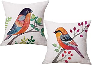 ULOVE LOVE YOURSELF Birds Throw Pillow Covers Home Decorative Cushion Cover Cotton Linen Square Pillowcases 18×18 inches,2Pack(Birds-1)