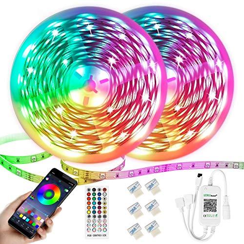 Bluetooth Led Streifen,Dimmbar RGB LED Band,12M LED Strip 300 LEDs 5050 SMD Lichtband Selbstklebend LED Lichtleiste Sync zur Musik,mit APP-Steuerung und Fernbedienung Für Haus,Garten,Schlafzimmer