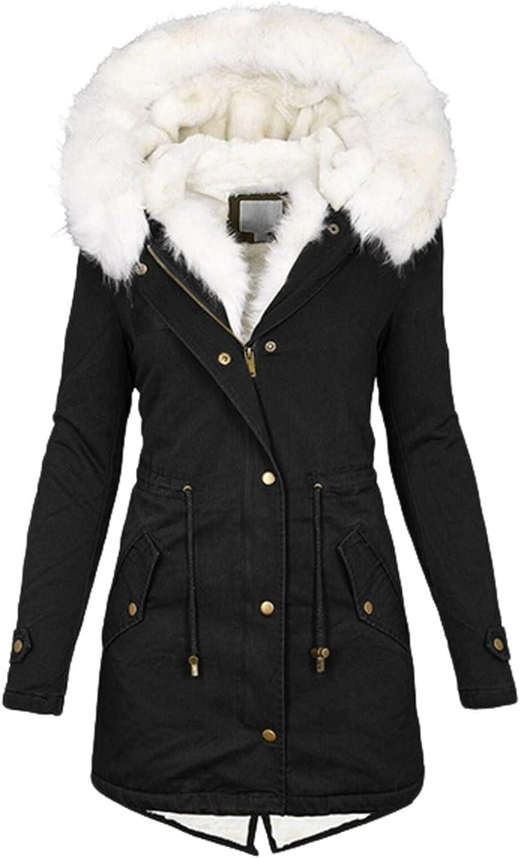 Olivcker Women's Coat Warm Winter Hooded Thick Padded Outerwear Big Collar Jackets Fleece Lined Long Parkas