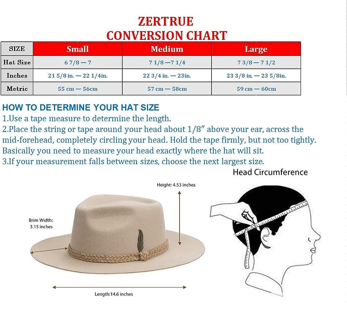 Fedora for Men Women 100% Wool Felt Outback Panama Hat Classic Band Wide Brim Adjustable