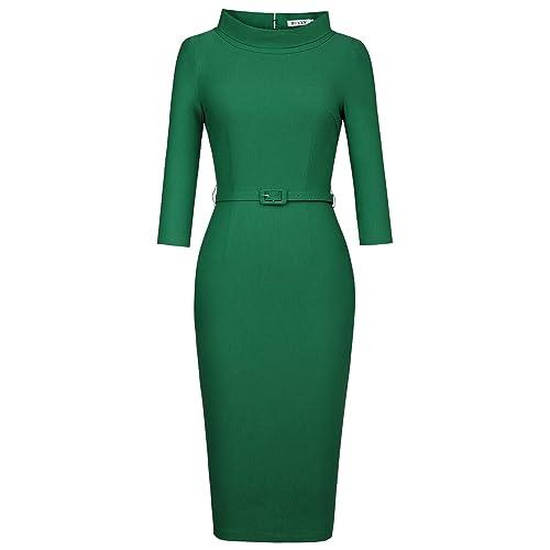 3046ecd324b MUXXN Women s 1950s Vintage 3 4 Sleeve Elegant Collar Cocktail Evening Dress
