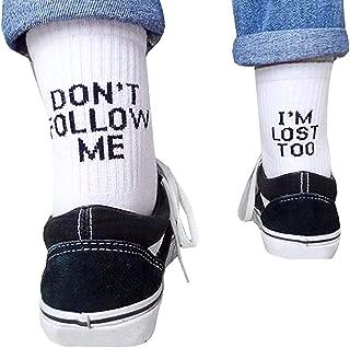Black White Funny Letters Don't Follow ME Casual Socks I Am Lost Too Hip Hop Streetwear Skateboard Harajuku, algodón, Blanco, Blanco